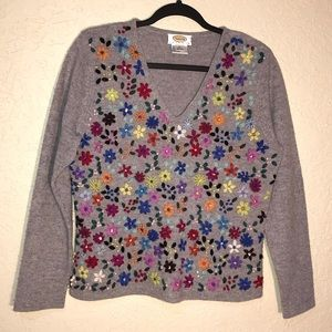 Talbots Floral Embroidered Sweater